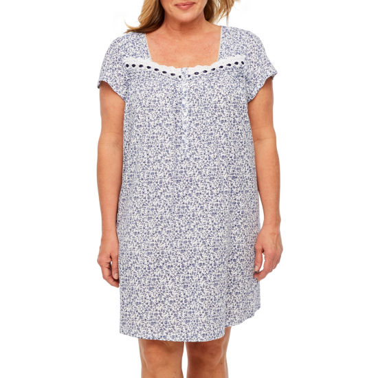 Adonna Jersey Short Sleeve Knit Nightgown-Plus