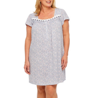 Adonna Jersey Short Sleeve Sweetheart Neck Stripe Nightgown-Plus