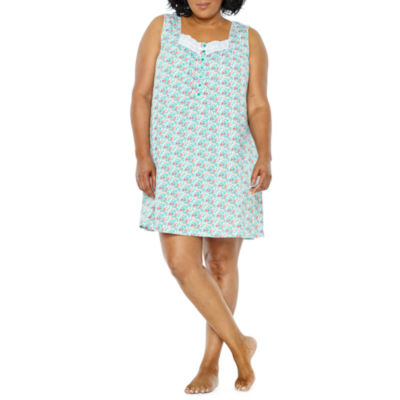 Adonna Jersey Sleeveless Floral Nightgown-Plus