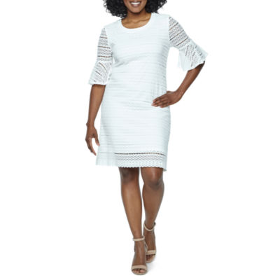 Ronni Nicole Elbow Sleeve Circles Shift Dress-Petites