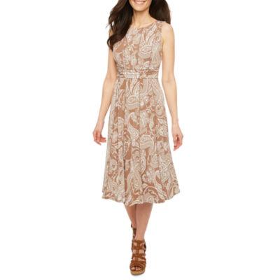Perceptions Sleeveless Paisley A-Line Dress-Petites