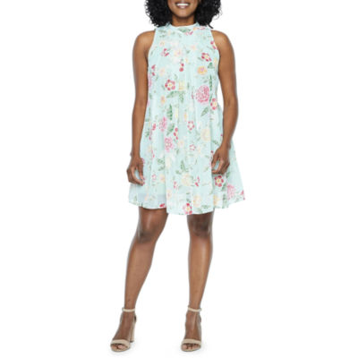 Robbie Bee Sleeveless Floral Swing Dresses-Petites
