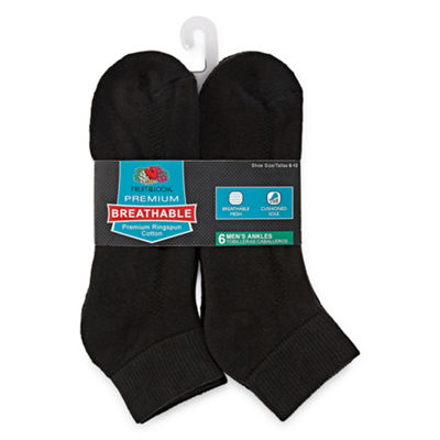 Fruit of the Loom Fruit Of The Loom Breathables 6 Pair Low Cut Socks-Mens