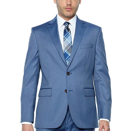 JF J.Ferrar Light Blue Twill Classic Fit Stretch Suit Jacket