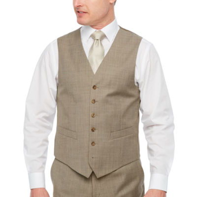 Stafford Executive Super100 Tan Tic  Classic Fit Suit Vest