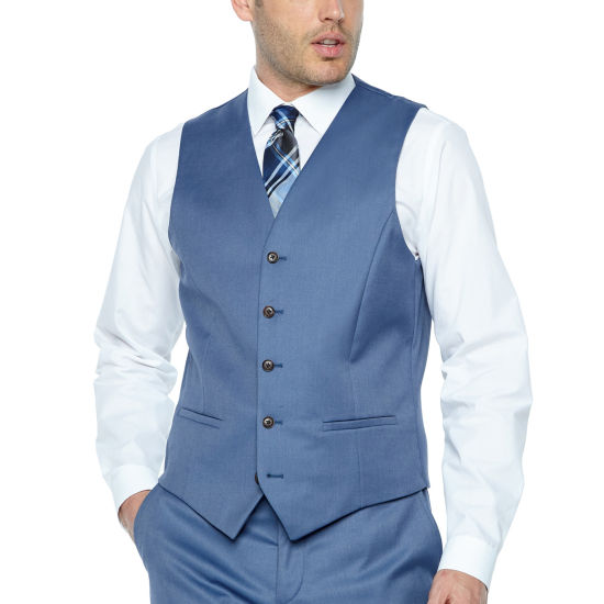 JF J.Ferrar Light Blue Twill Slim Fit Suit Vest