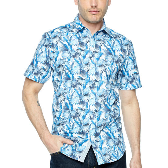 Society Of Threads Short Sleeve Leaf Button-Front Shirt