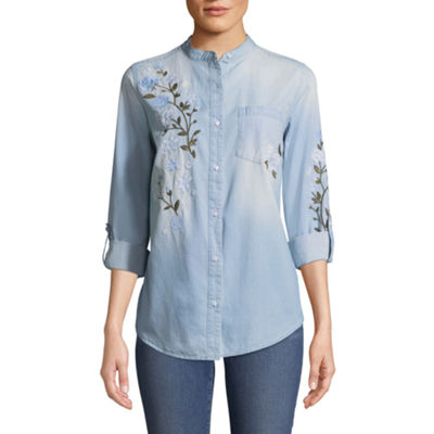 St. John's Bay Relaxed Fit Long Sleeve Embroidered Button-Front Shirt