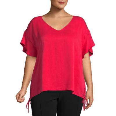 Project Runway Short Sleeve V Neck Woven Blouse - Plus