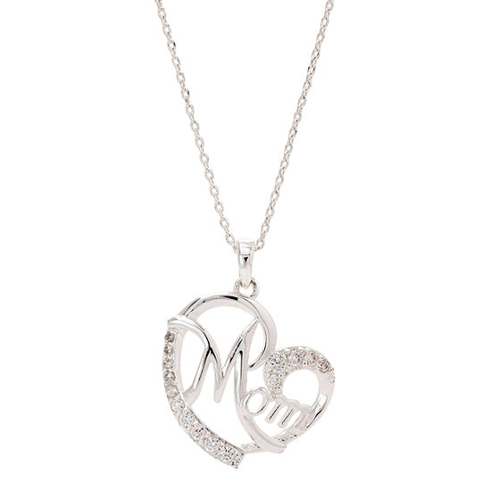 Sparkle Allure Womens 1/4 CT. T.W. Pure Silver Over Brass Heart Pendant Necklace