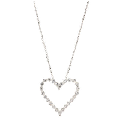 Sparkle Allure Sparkle Allure Cz Box Womens 1 CT. T.W. Clear Pure Silver Over Brass Heart Pendant Necklace