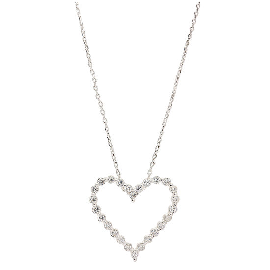 Sparkle Allure Womens 1 CT. T.W. Pure Silver Over Brass Heart Pendant Necklace