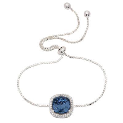 City Rocks Swarovski 1/3 CT. T.W. Blue Silver Tone Pure Silver Over Brass Bolo Bracelet