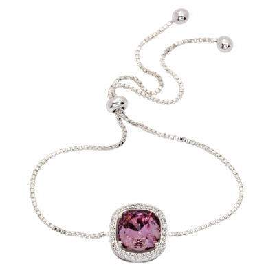 Sparkle Allure Pink Pure Silver Over Brass Bolo Bracelet