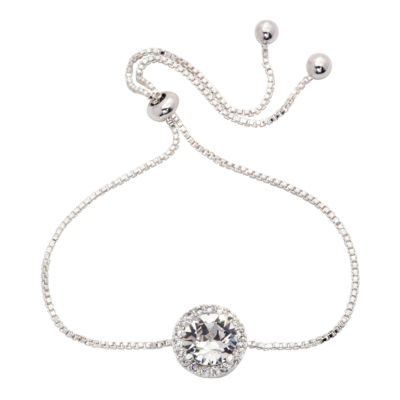 City Rocks Swarovski 1/4 CT. T.W. Clear Silver Tone Pure Silver Over Brass Bolo Bracelet