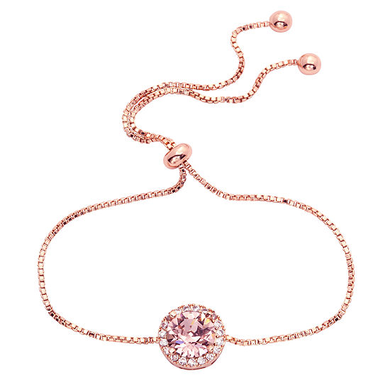 Sparkle Allure Pink 14k Rose Gold Over Brass Bolo Bracelet