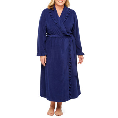 Adonna Long Sleeve Ruffled Trim Terry Knit Robe -  Plus