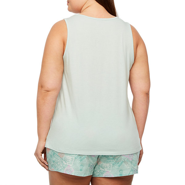 Ambrielle Sleeveless Round Neck Pajama Top-Plus