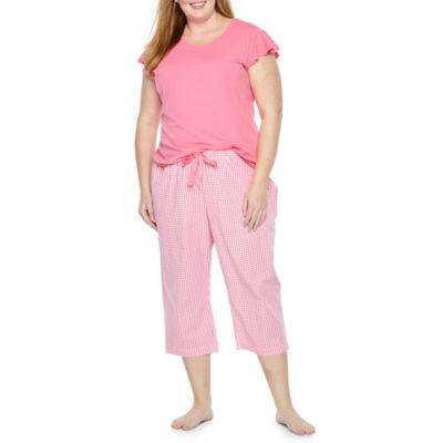 Liz Claiborne Ruffle Sleeve Capri Pajama Set-Plus