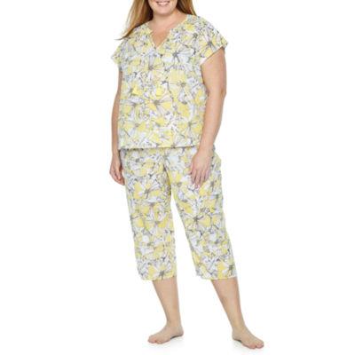 Liz Claiborne Woven Tassel Capri Pajama Set - Plus