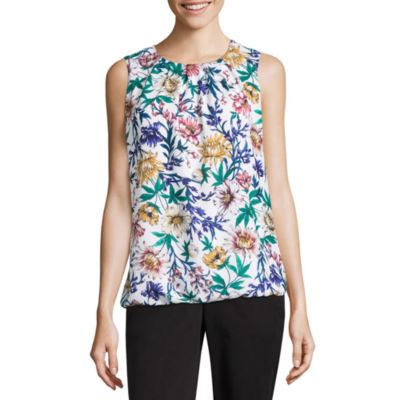 Liz Claiborne Sleeveless Crew Neck Chiffon Blouse - Tall