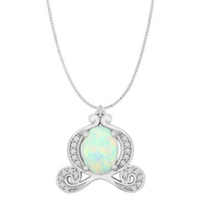 Enchanted Disney Fine Jewelry 1/10 CT. T.W. Diamond and Lab-Created Opal Sterling Silver Pendant Necklace