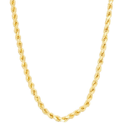 14K Gold Over Silver 16 Inch Solid Rope Chain Necklace