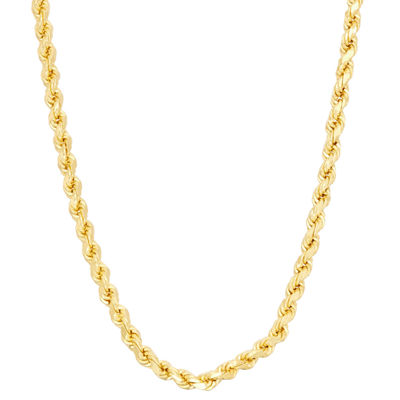 14K Gold Over Silver 24 Inch Solid Rope Chain Necklace