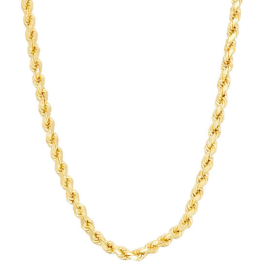 14K Gold Over Silver  Solid Rope Chain Necklace