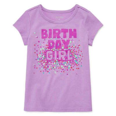 Okie Dokie Birthday Girls Crew Neck Short Sleeve Graphic T-Shirt-Toddler
