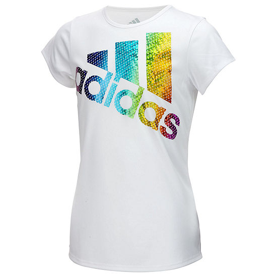 adidas Girls Round Neck Short Sleeve Graphic T-Shirt - Preschool