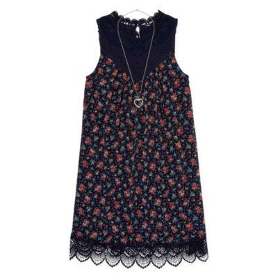 Knit Works Sleeveless Floral A-Line Dress Girls