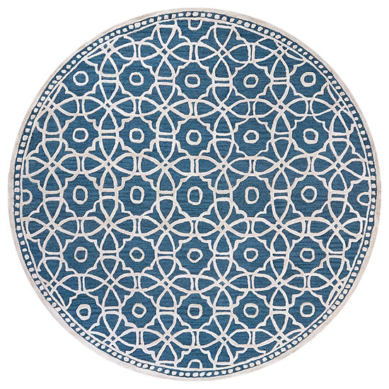 Rizzy Home Luniccia Collection Thames Hand-Tufted Geometric Round Area Rug