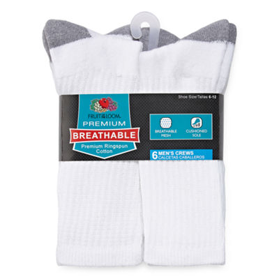 Fruit of the Loom Fruit Of The Loom Breathables 6 Pair Crew Socks-Mens
