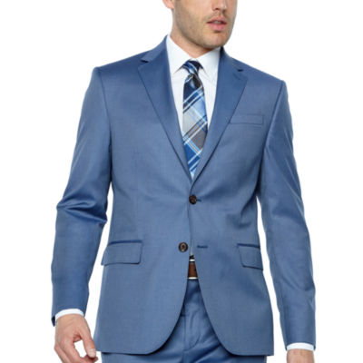 JF J.Ferrar Light Blue Twill Slim Fit Suit Jacket
