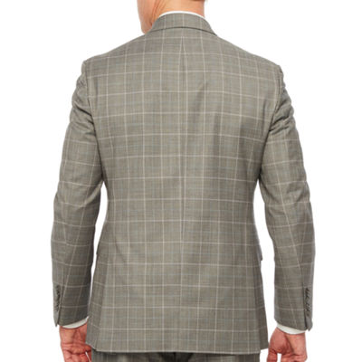 Stafford Gray Blue Windowpane Classic Fit Stretch Suit Jacket