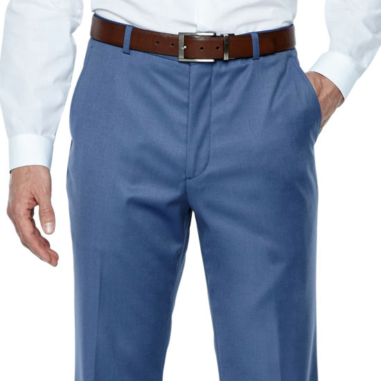 JF J.Ferrar Stretch Light Blue Twill Classic Fit Suit Pants