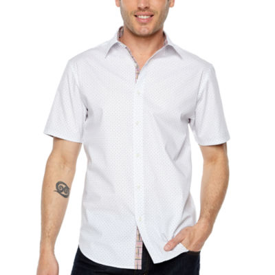 Society Of Threads Short Sleeve Dots Button-Front Shirt
