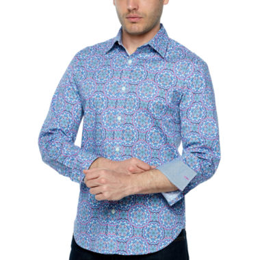 Society Of Threads Long Sleeve Geometric Button-Front Shirt