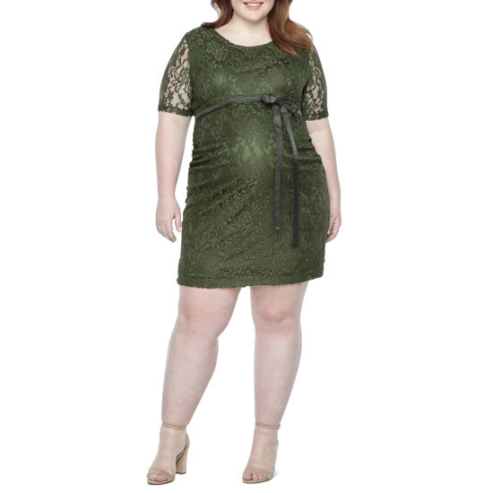 Planet Motherhood Elbow Sleeve Scoop Neck Lace Dress - Plus Maternity