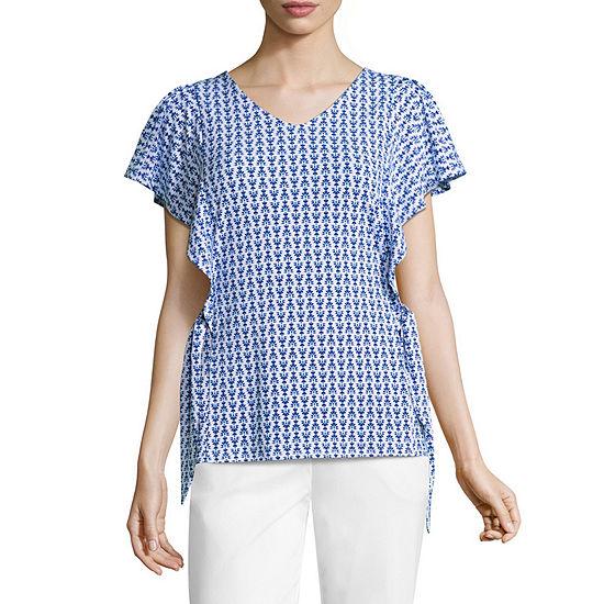 935e69556 Worthington Womens V Neck Short Sleeve Knit Dress Shirt-Petite - JCPenney