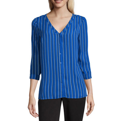 Worthington 3/4 Sleeve V Neck Georgette Blouse