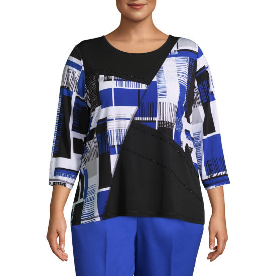 Alfred Dunner Upper East Side Abstract Spliced Tee- Plus
