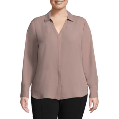 Worthington Long Sleeve Woven Blouse - Plus