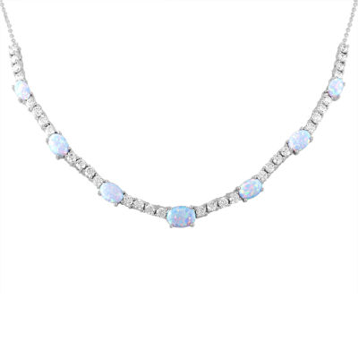 Womens Lab Created White Opal Pure Silver Over Brass Statement Necklace