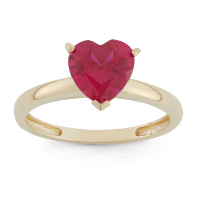 Womens Red Ruby 10K Gold Heart Cocktail Ring