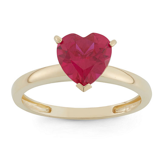 Womens Lab Created Red Ruby 10K Gold Heart Solitaire Cocktail Ring