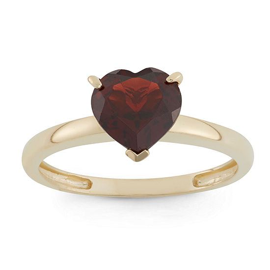 Womens Genuine Red Garnet 10K Gold Heart Solitaire Cocktail Ring