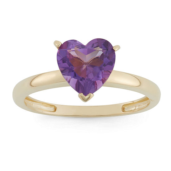 Womens Genuine Purple Amethyst 10K Gold Heart Solitaire Cocktail Ring