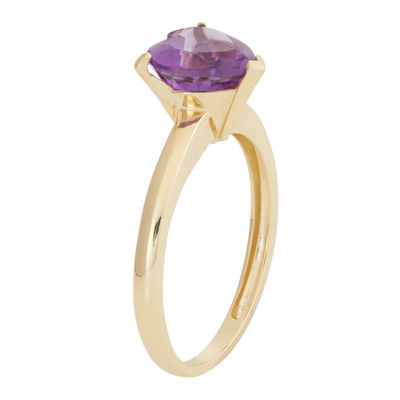 Womens Purple Amethyst 10K Gold Heart Cocktail Ring